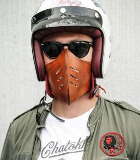 "Mentonnière moto en cuir ""Made Masque"""