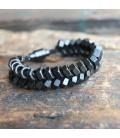 Bracelet écrous noirs mats