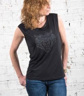 T-shirt black tiger femme