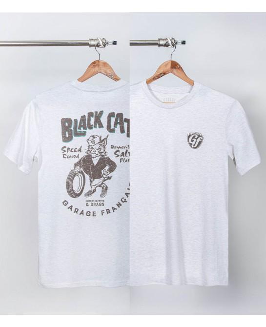 Tee-shirt moto Black Cat chiné