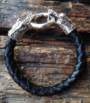 black leather bracelet with crocodiles clasps