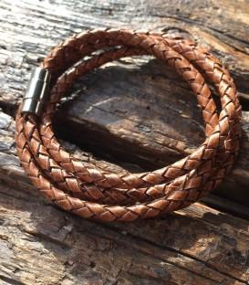 Bracelet corde 4 tours marron cappuccino