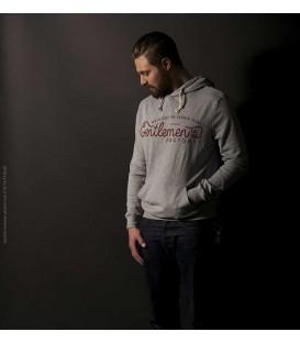 Sweat capuche logo GF rouge - gris chiné - 200gr